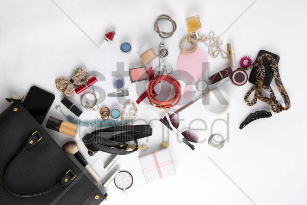 women's handbag and accessories on white background stock photo