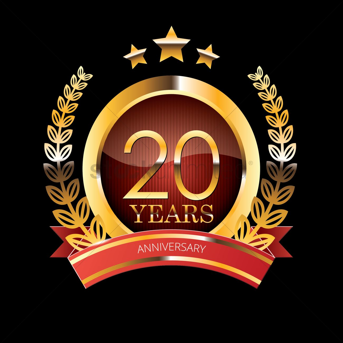 20 Years Anniversary Label With Ribbon Vector Image 1399807 Stockunlimited