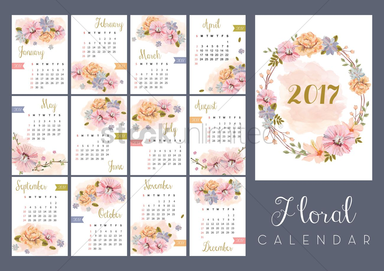 2017 Floral Calendar Set Vector Image 1940323 Stockunlimited