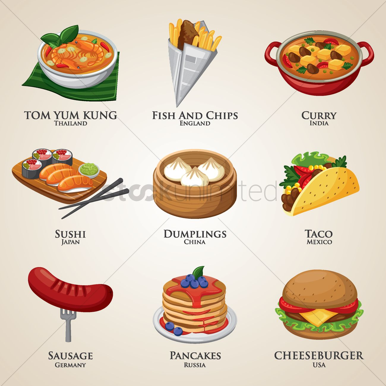 A collection of food around the world vector image 1828419 stockunlimited - List of international cuisines ...
