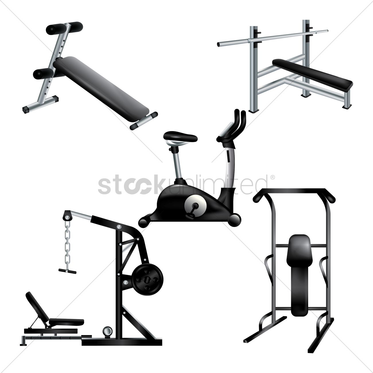 A collection of gym equipments Vector Image - 1869791   StockUnlimited