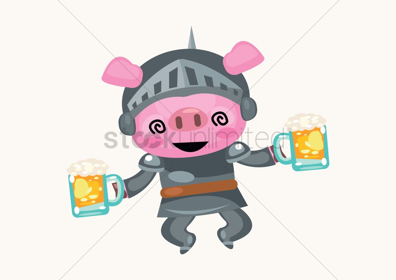 Free A pig knight holding two cups of bear Vector Image