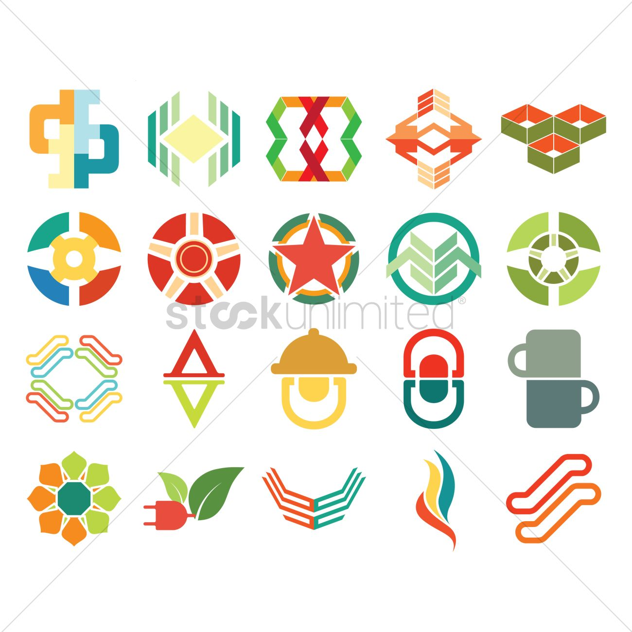 abstract icon set vector graphic