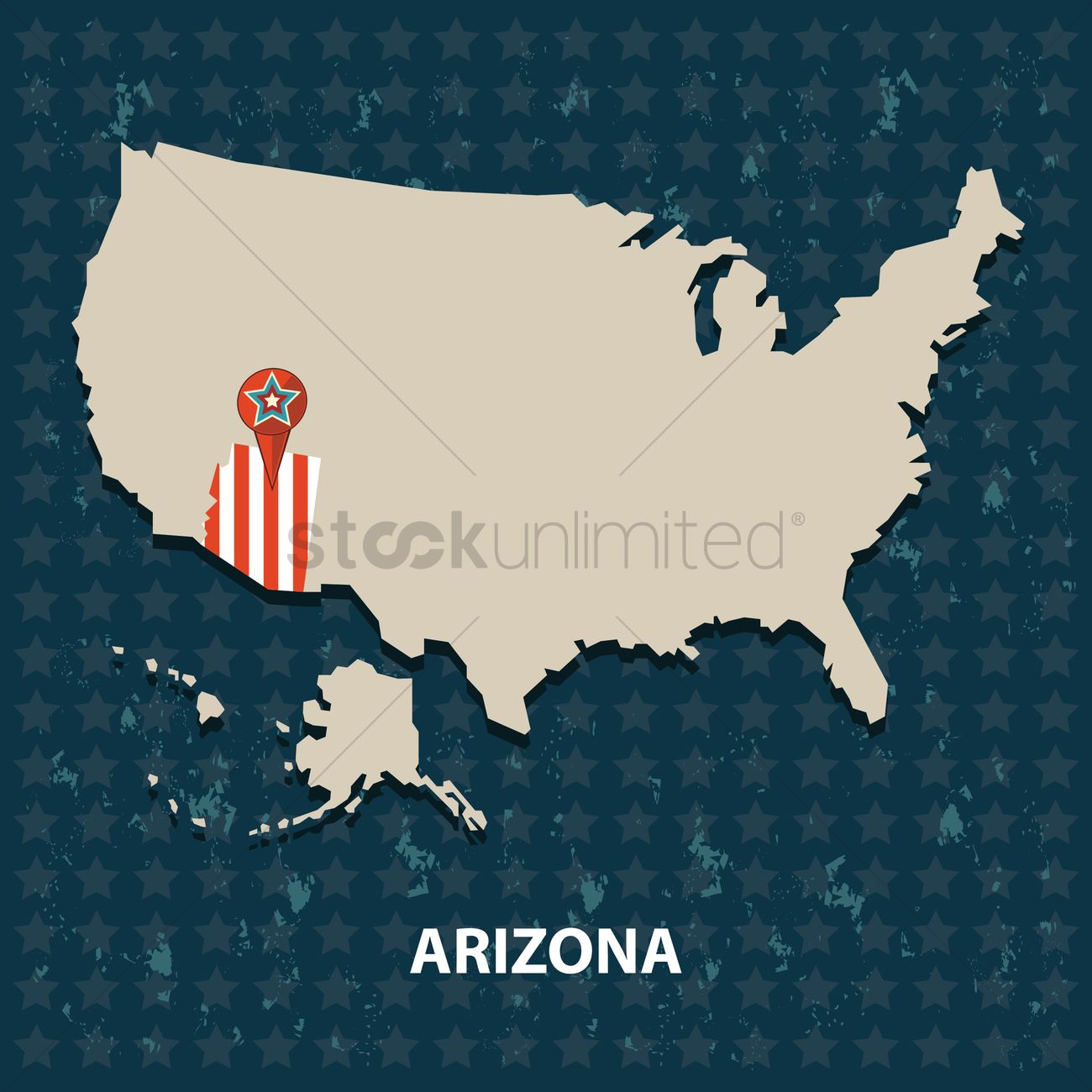 Arizona state on the map of usa Vector Image - 1552239 | StockUnlimited