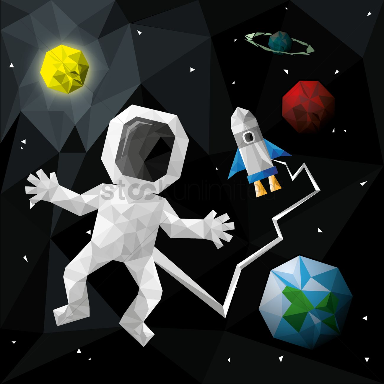 Astronaut Floating In The Space Vector Image 1495867