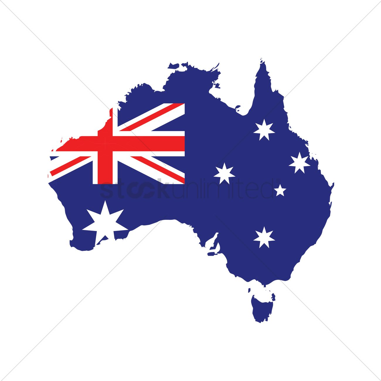 Australia flag on map Vector Image   1961259 | StockUnlimited