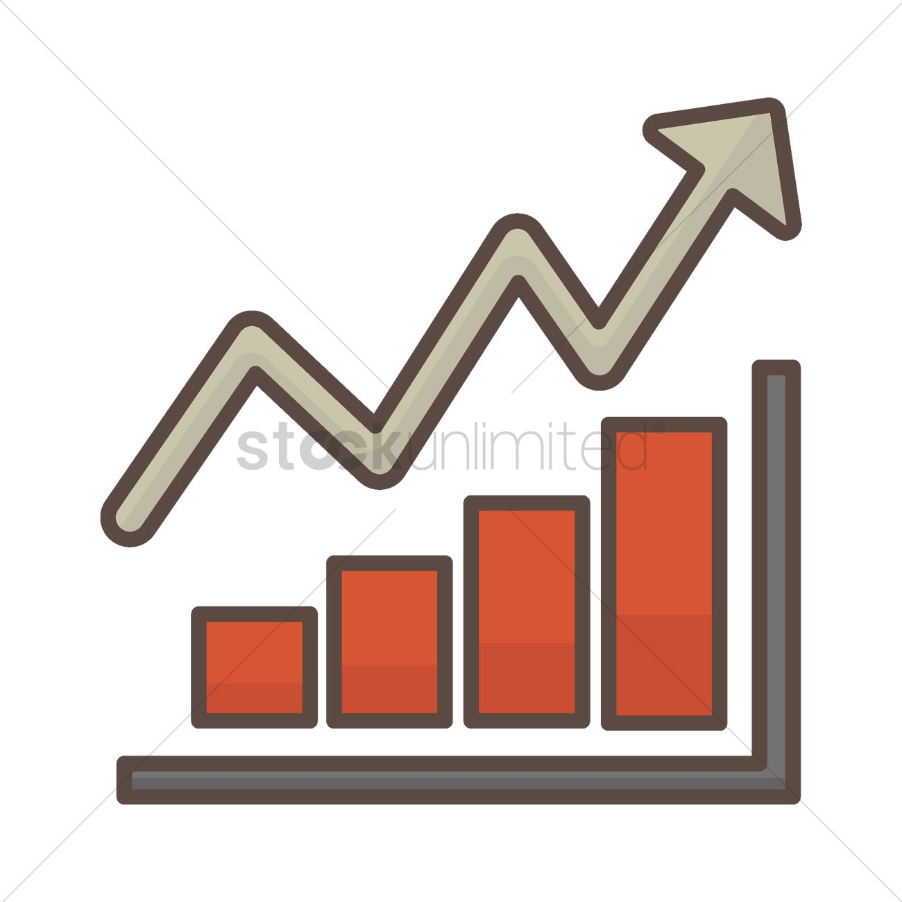 bar graph with arrow going up vector image - 1584487 | stockunlimited