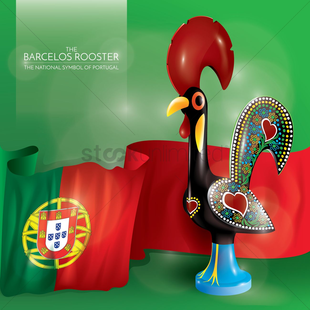 Barcelos Rooster With Portugal Flag Vector Image 1554659