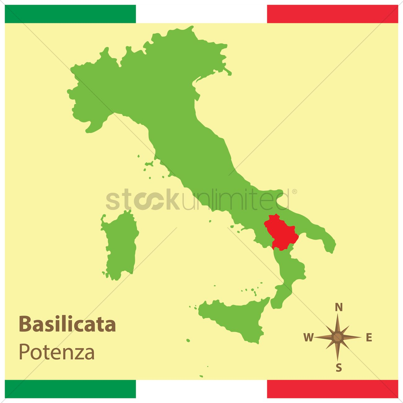 Basilicata on italy map Vector Image 1583951 StockUnlimited