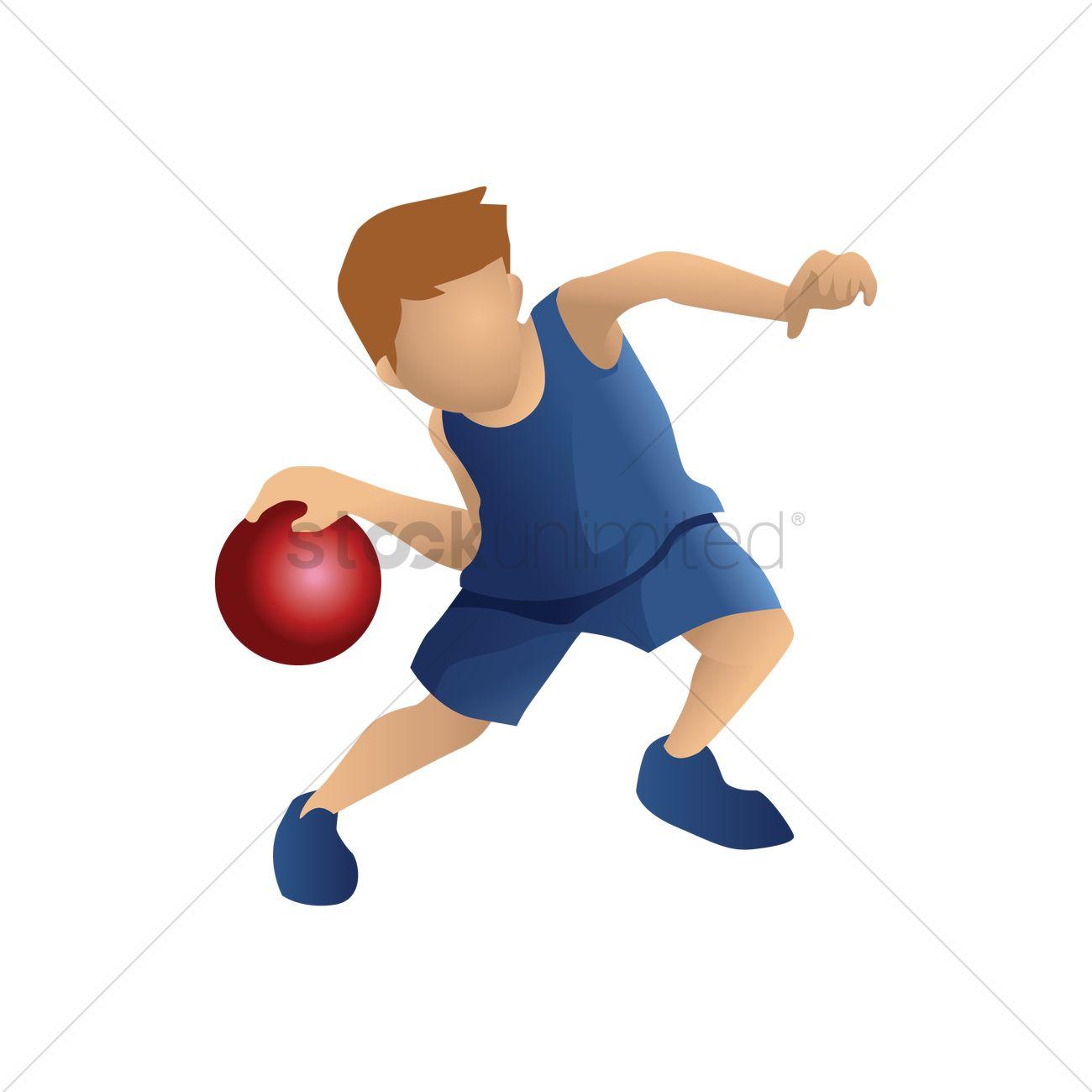 Basketball Player Dribbling Ball Vector Image