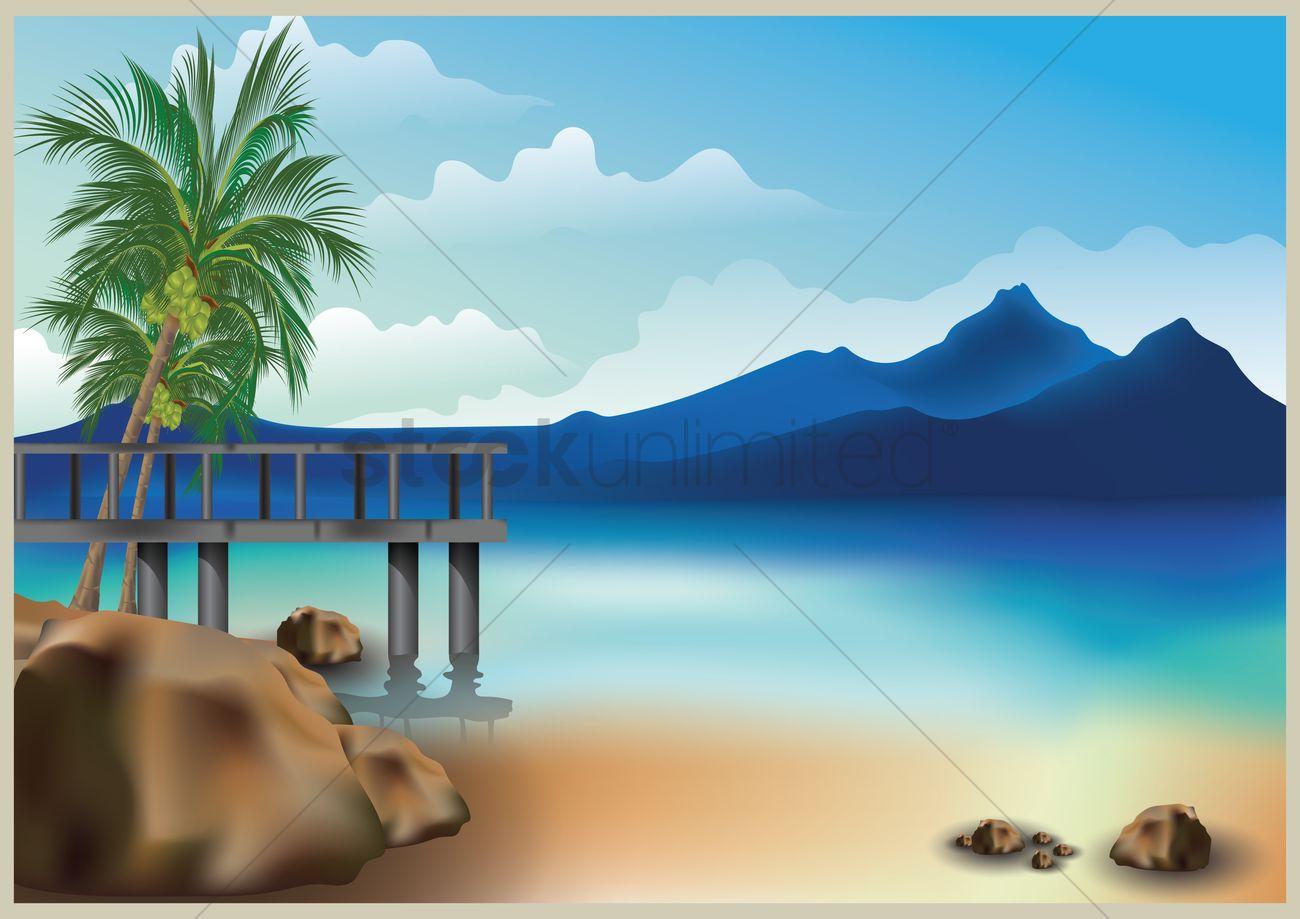Beautiful Beach Landscape Vector Graphic