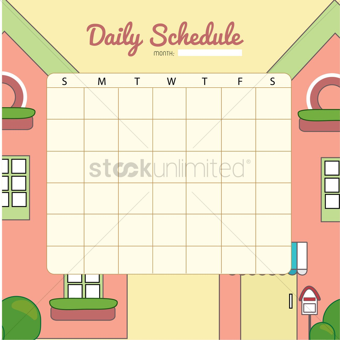 Blank Daily Planner Template Design Vector Image 1479967