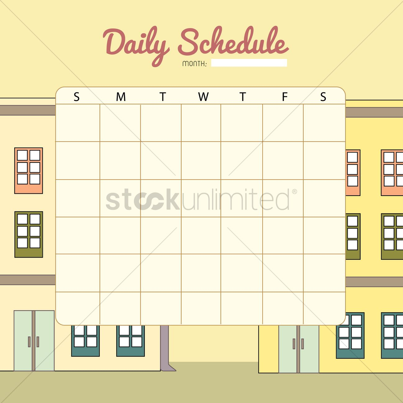 Blank Daily Planner Template Design Vector Image 1479971