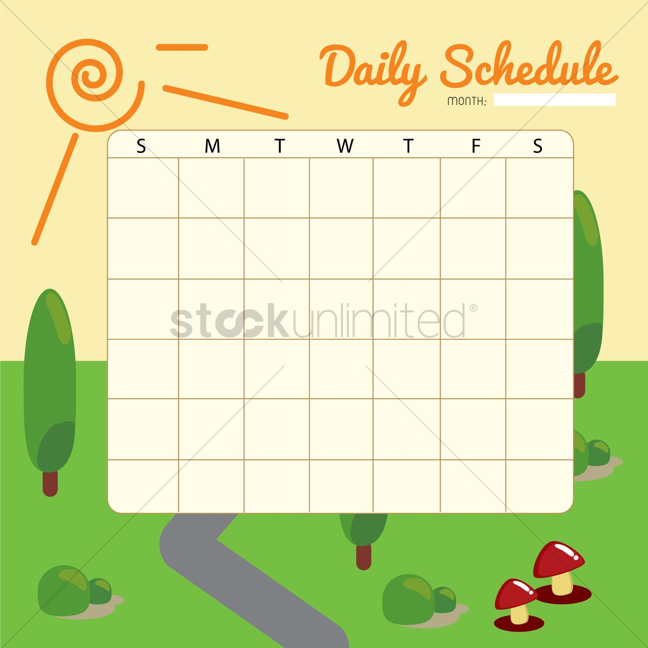 blank daily planner template design vector image 1479975