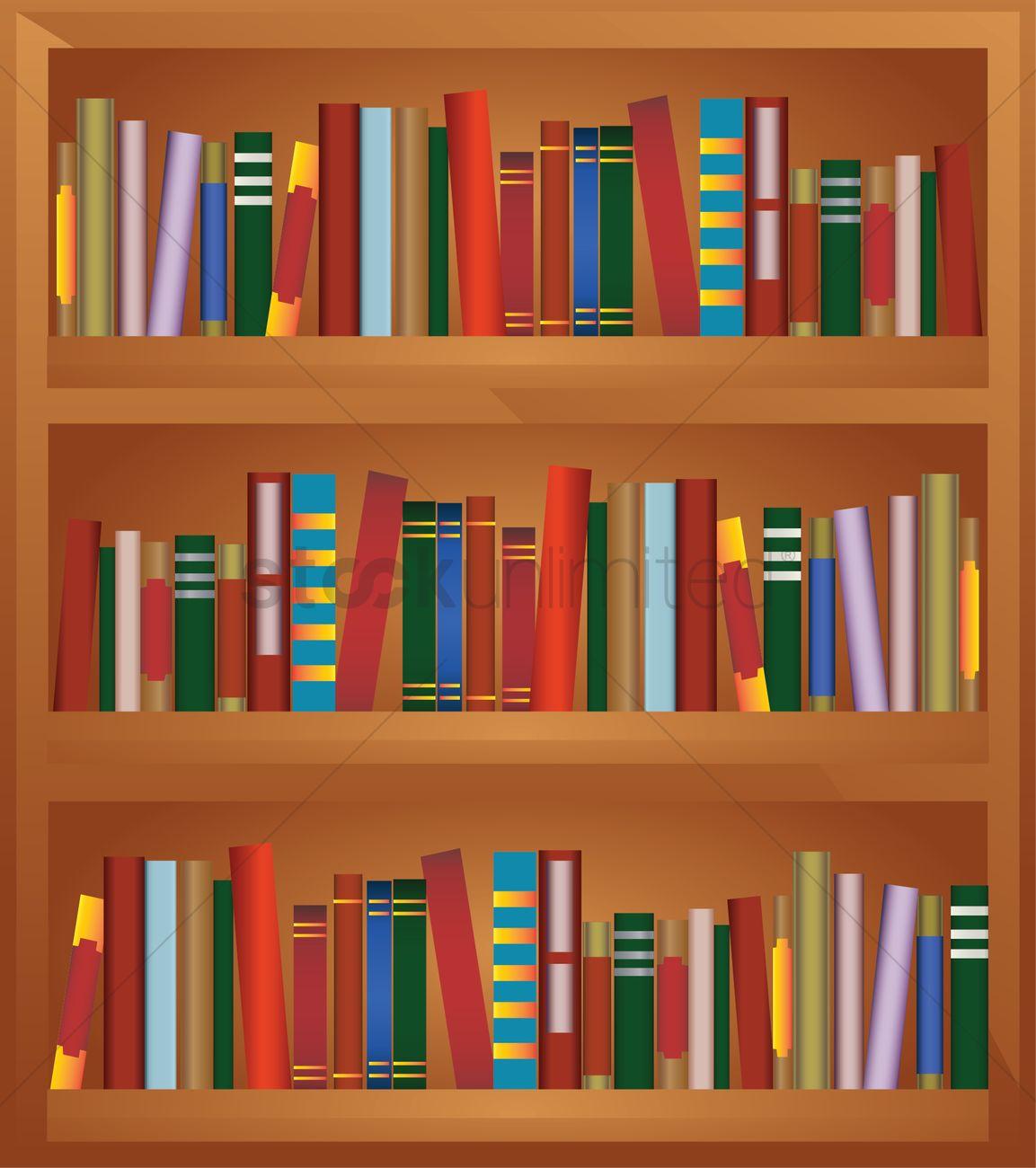 Bookshelf full of books Vector Image - 1238903 ...