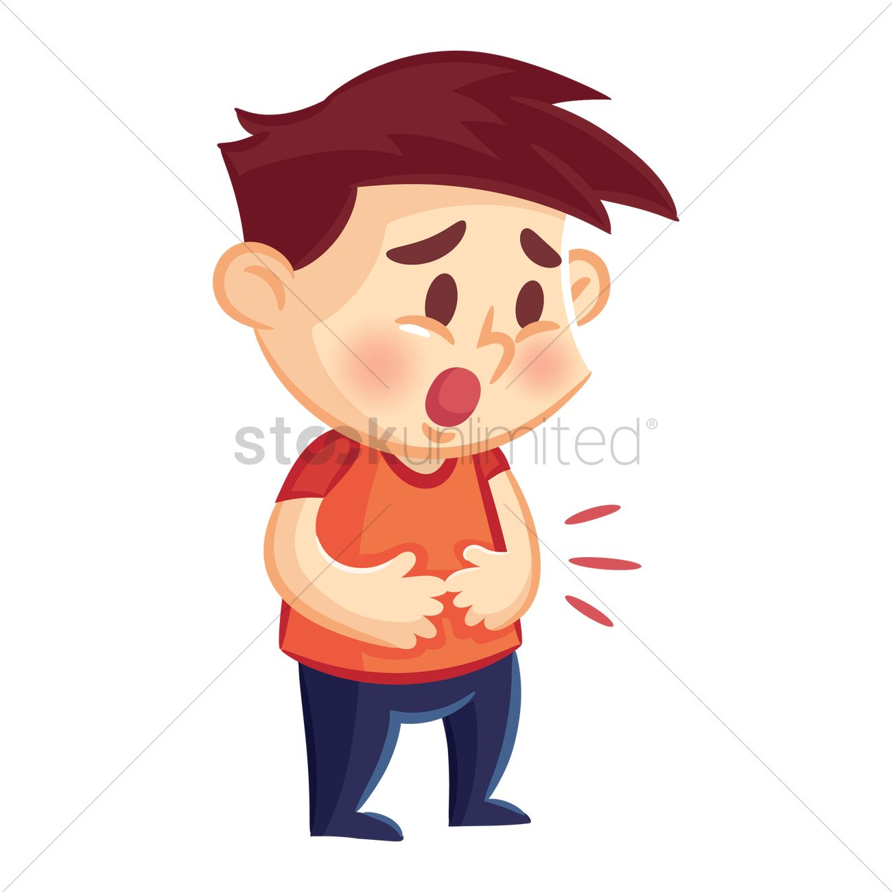 Boy Having Stomachache Vector Image 1956751 Stockunlimited