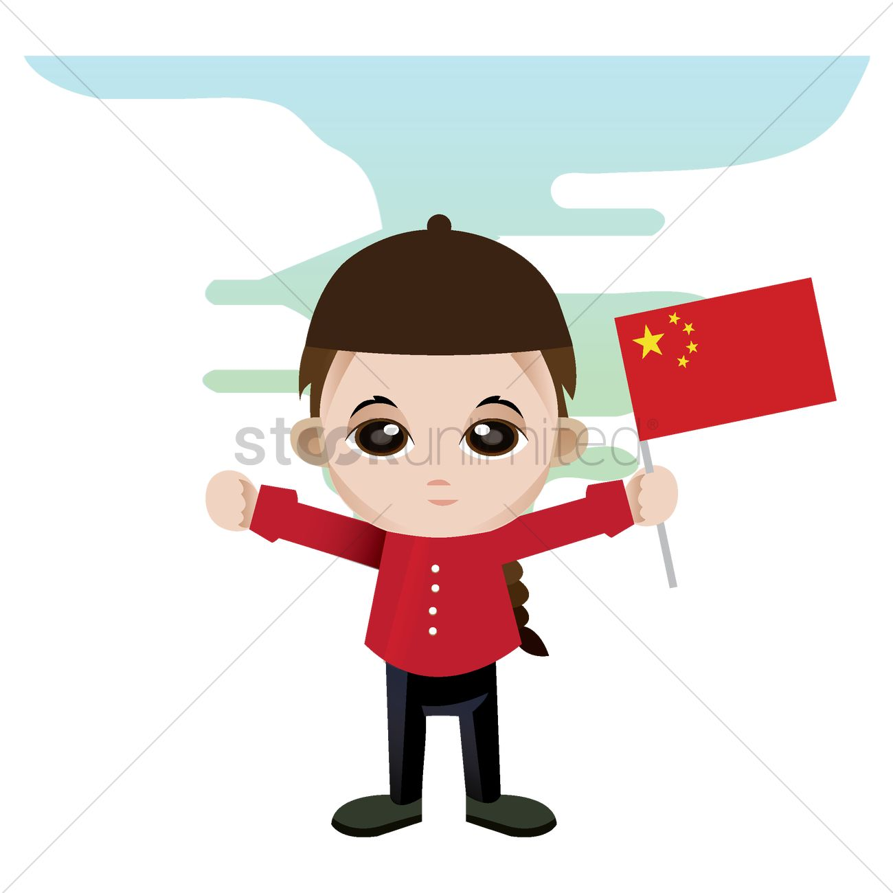 Boy Holding China Flag Vector Image 1356083 Stockunlimited