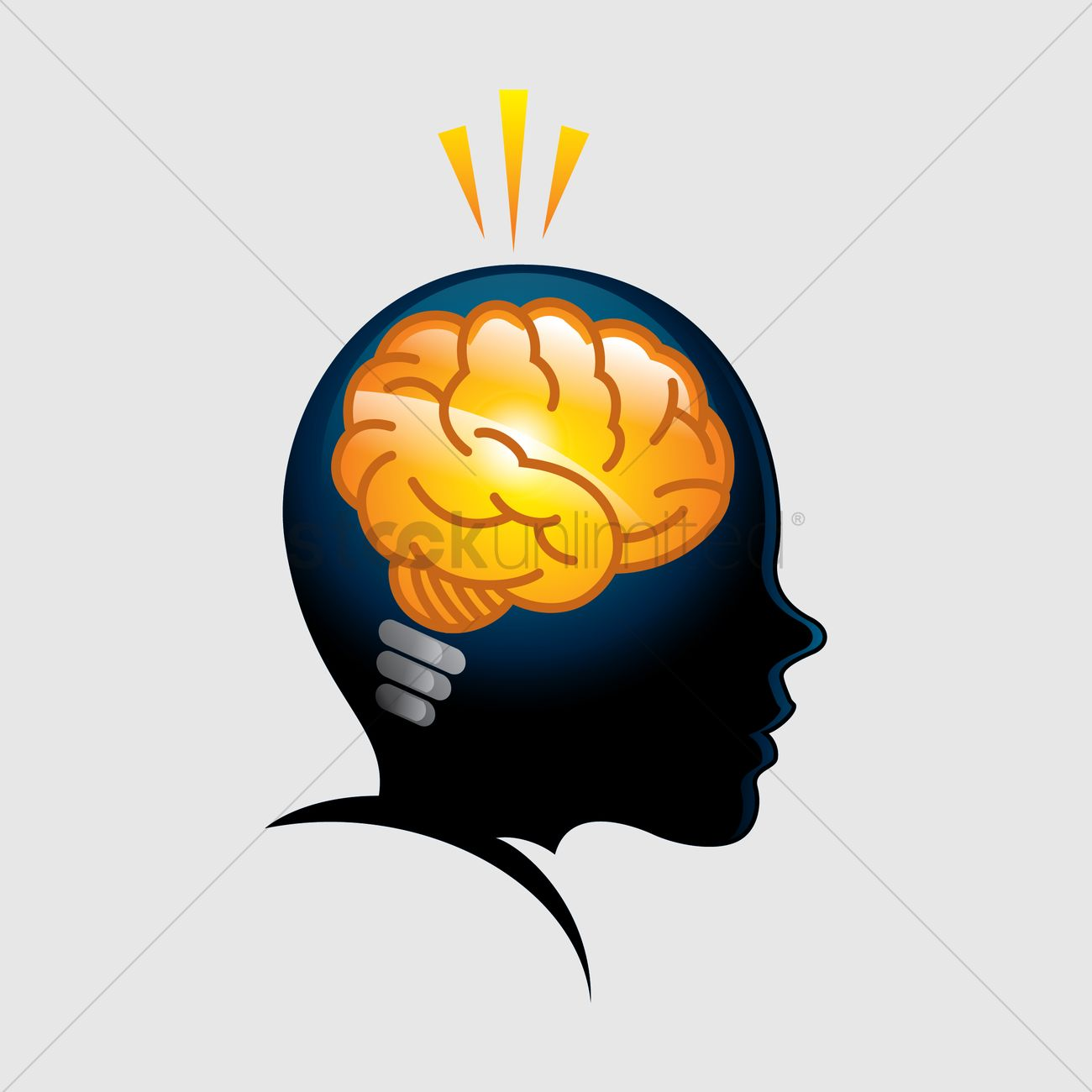 Lovely Free Brain As A Light Bulb In A Head Vector Graphic Design Ideas