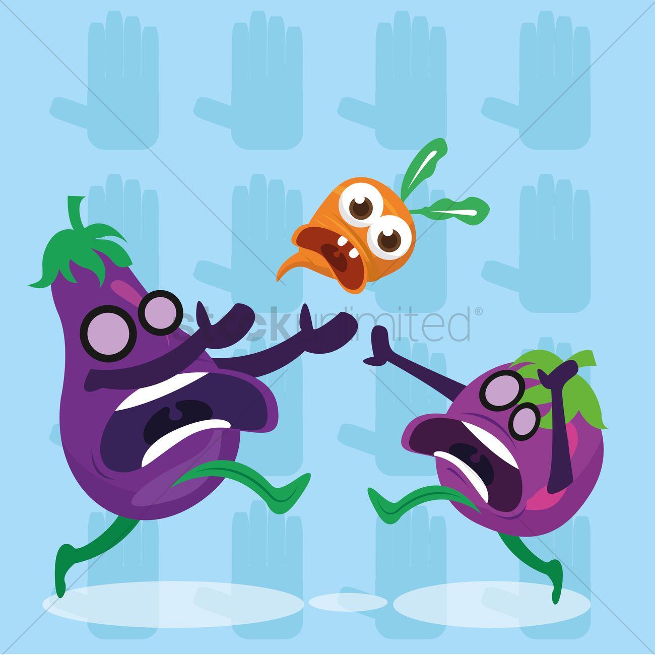 Funny eggplant - vector isolated cartoon emoticons - Stock Illustration  [37814709] - PIXTA