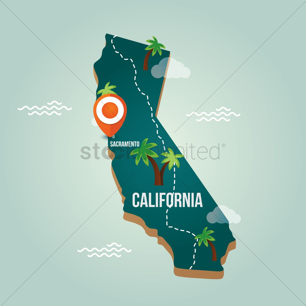 California map with capital city Vector Image 1536591 StockUnlimited
