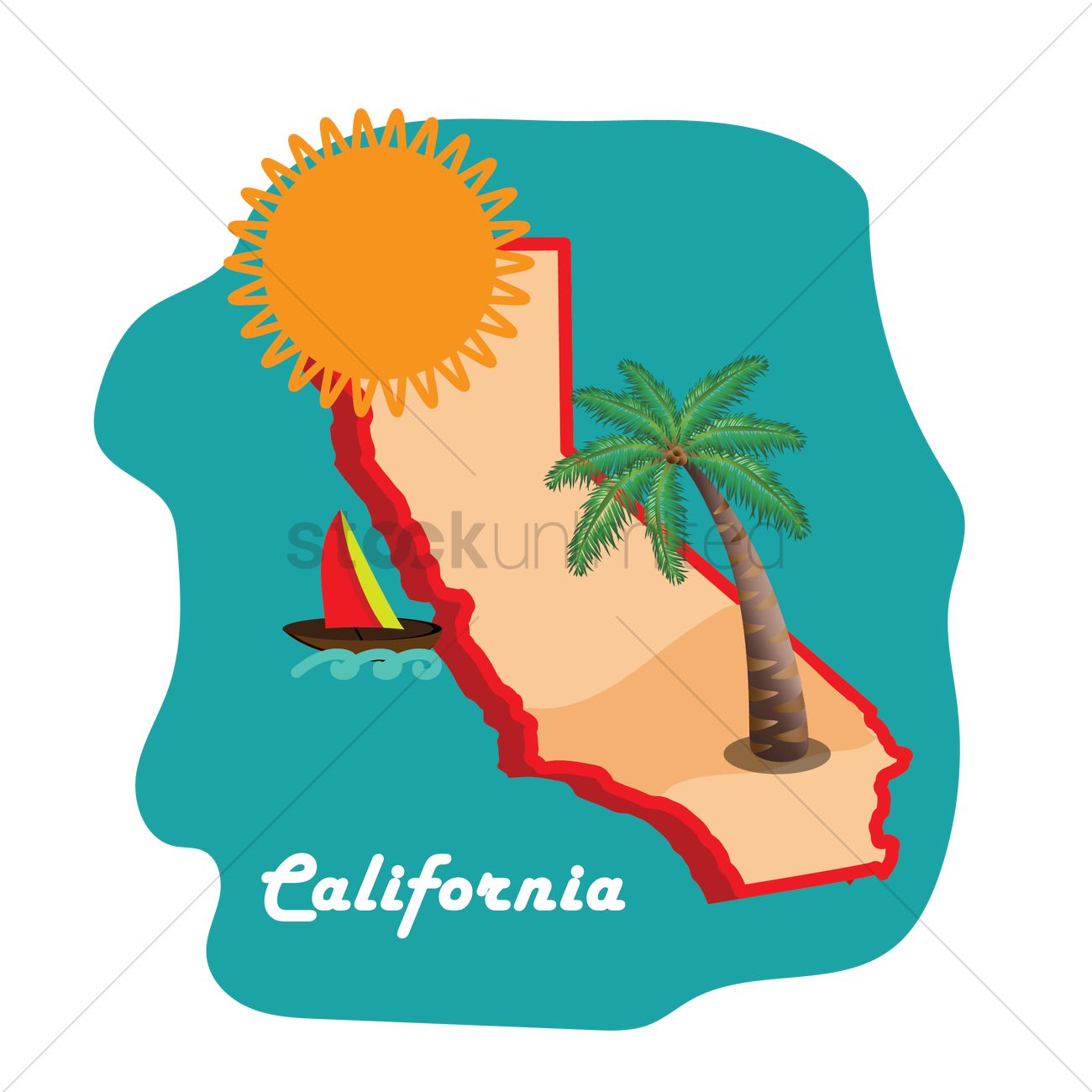 California Map Cartoon.California State Map With Long Beach Vector Image 1591347
