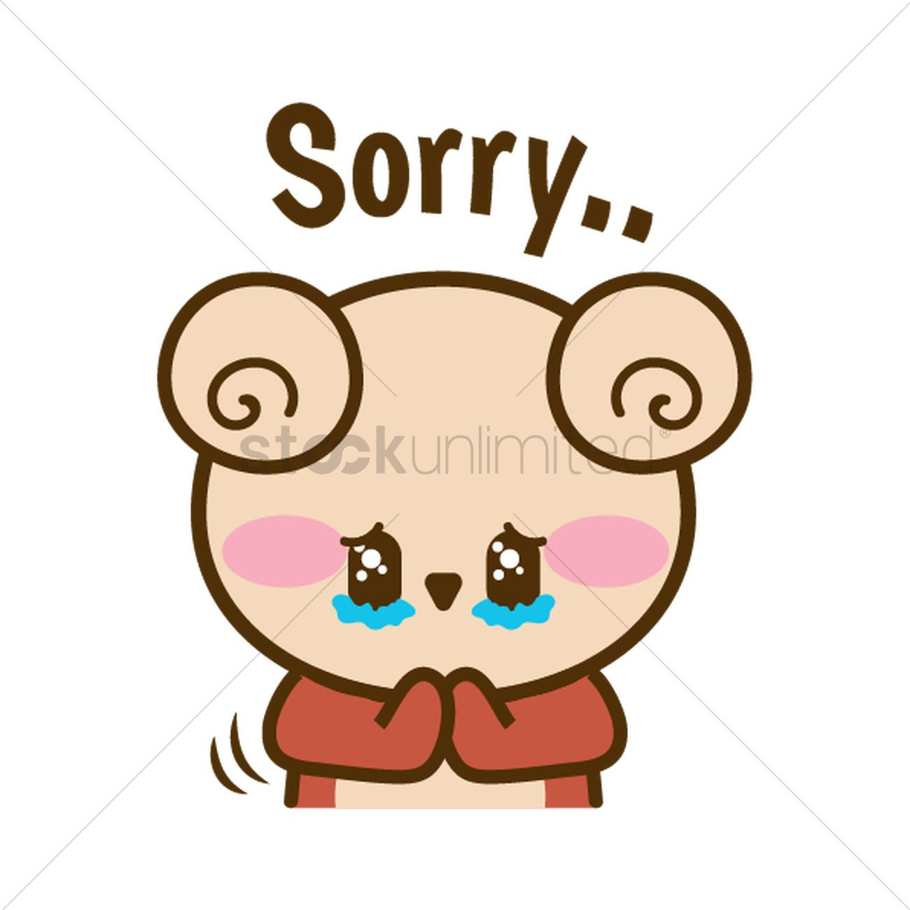 cartoon bear feeling sorry vector graphic