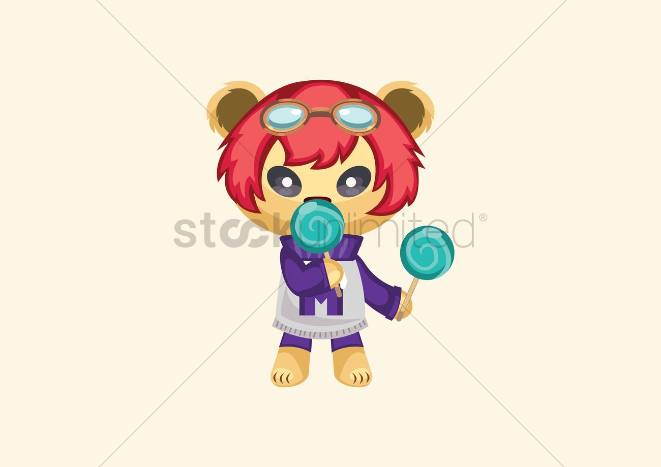 Cartoon character eating lollipop Vector Image - 1307651 ... for Lollipop Animated  53kxo