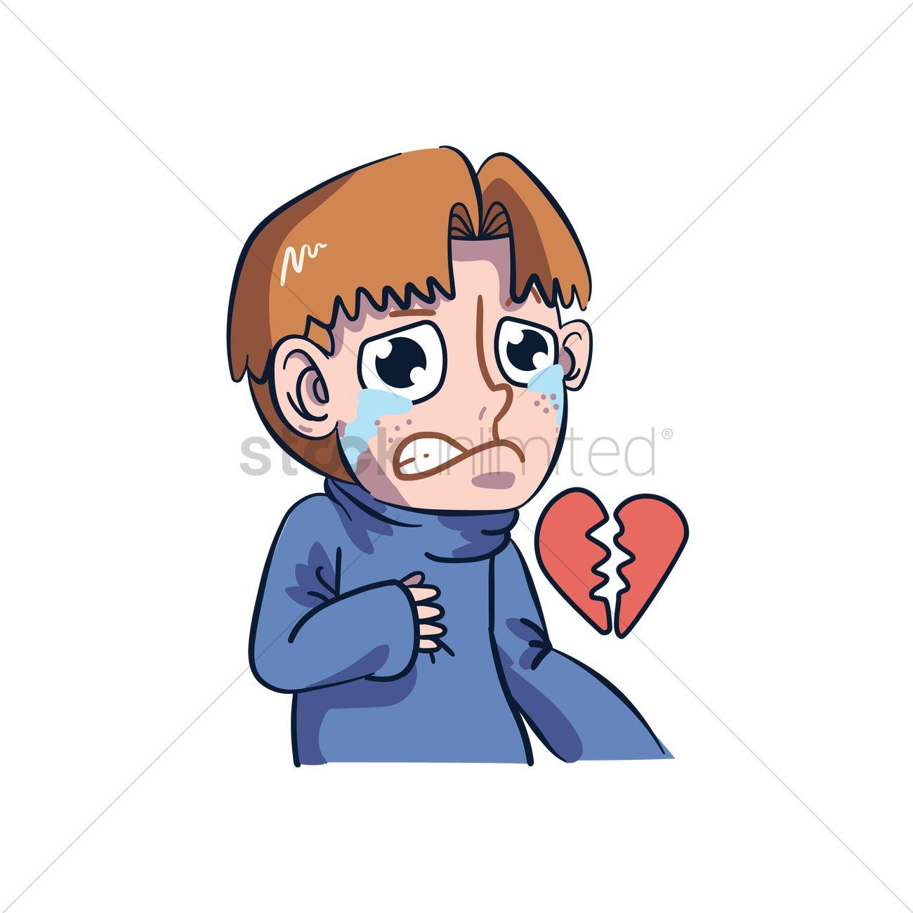 cartoon character having a broken heart vector image