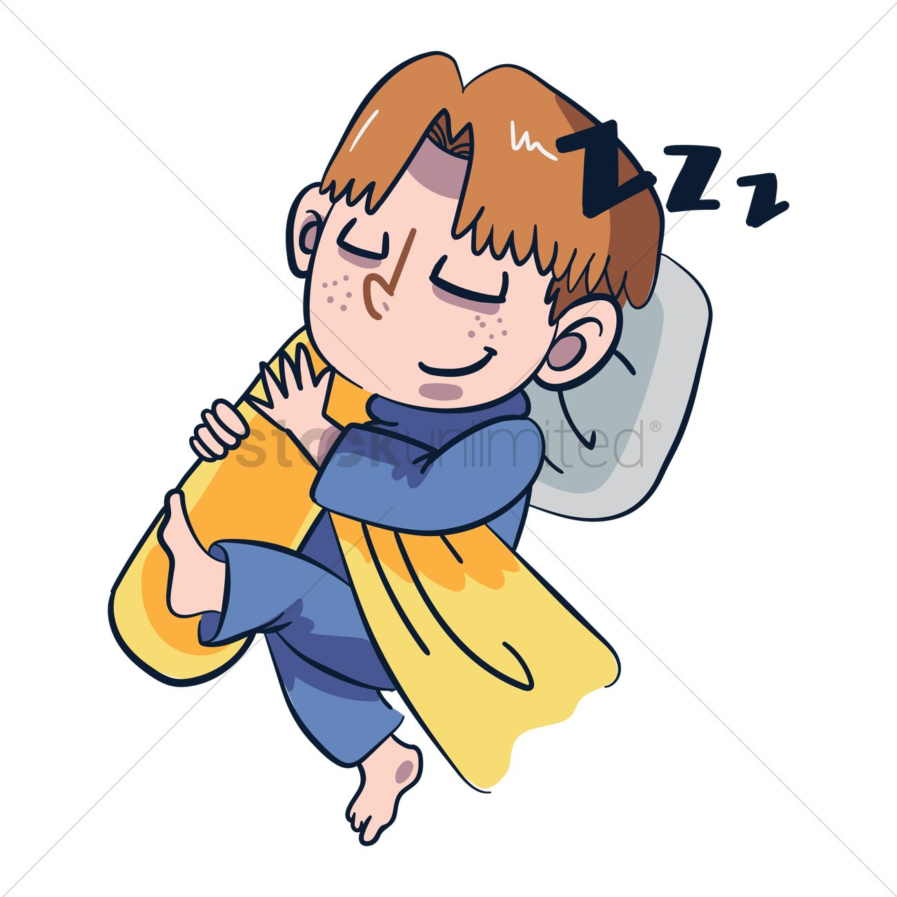 Cartoon Boy And Girl Sleeping In Bed