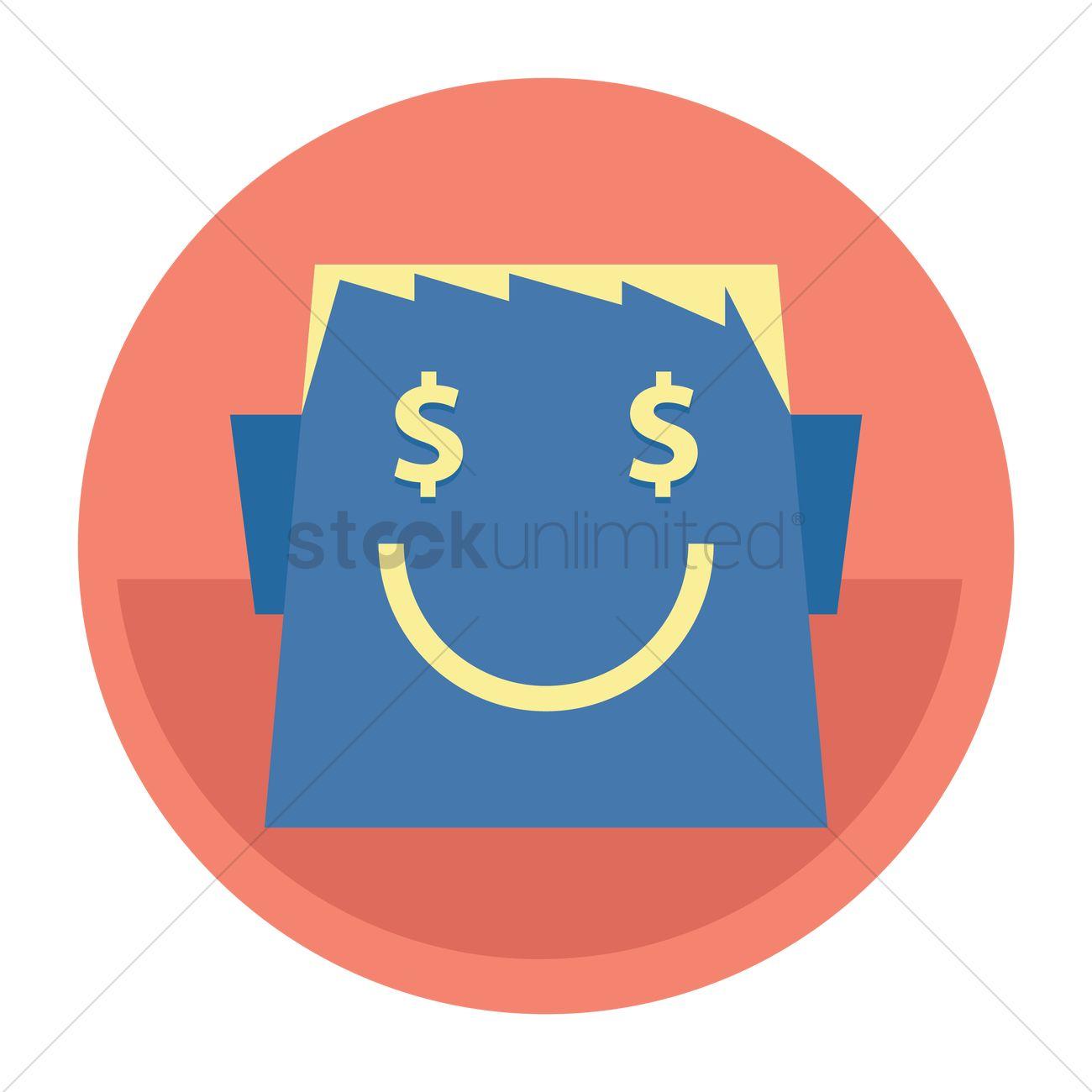 Cartoon face with dollar sign eyes Vector Image - 1300423