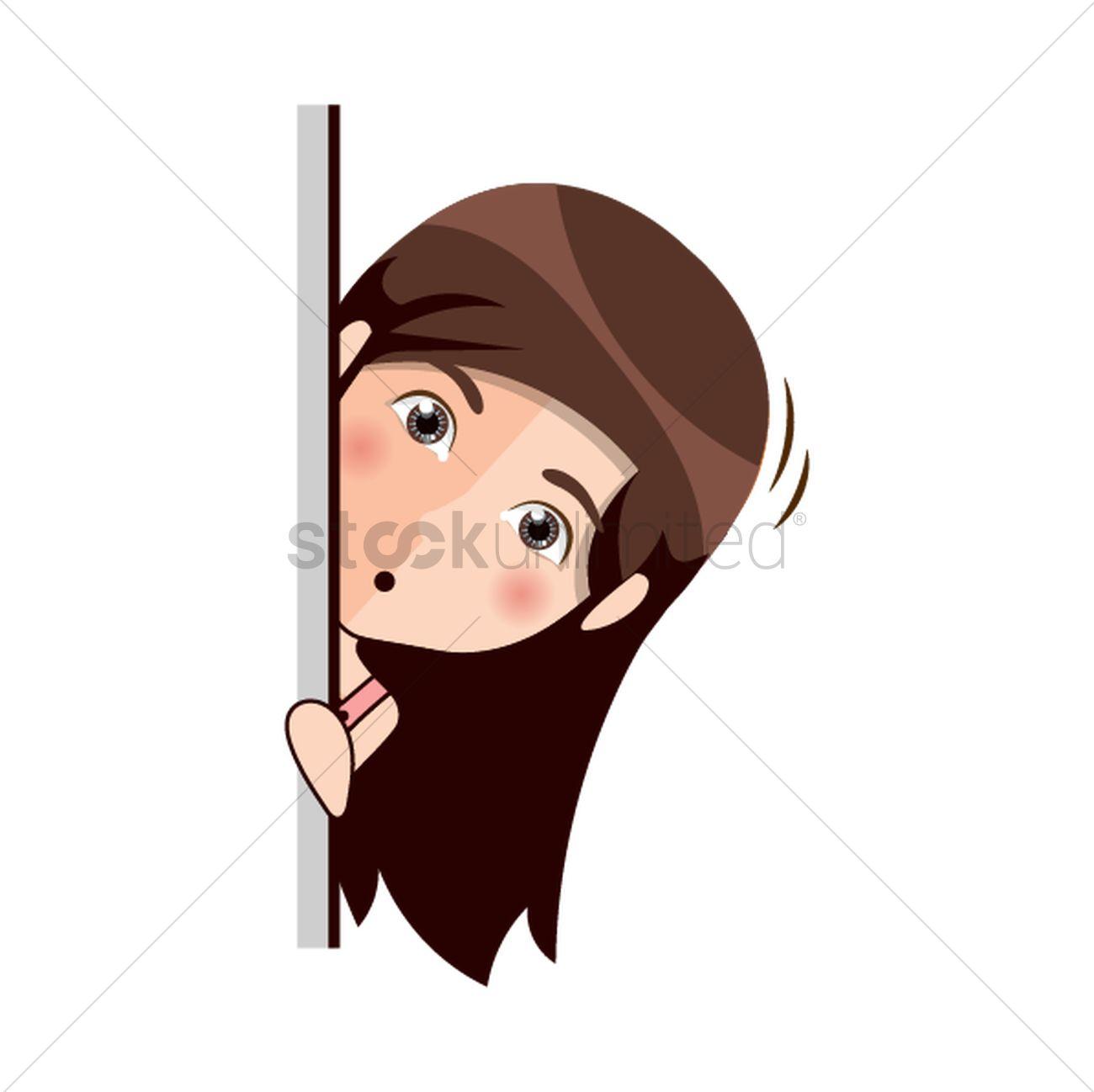 Cartoon girl peeking out behind wall Vector Image - 1957451
