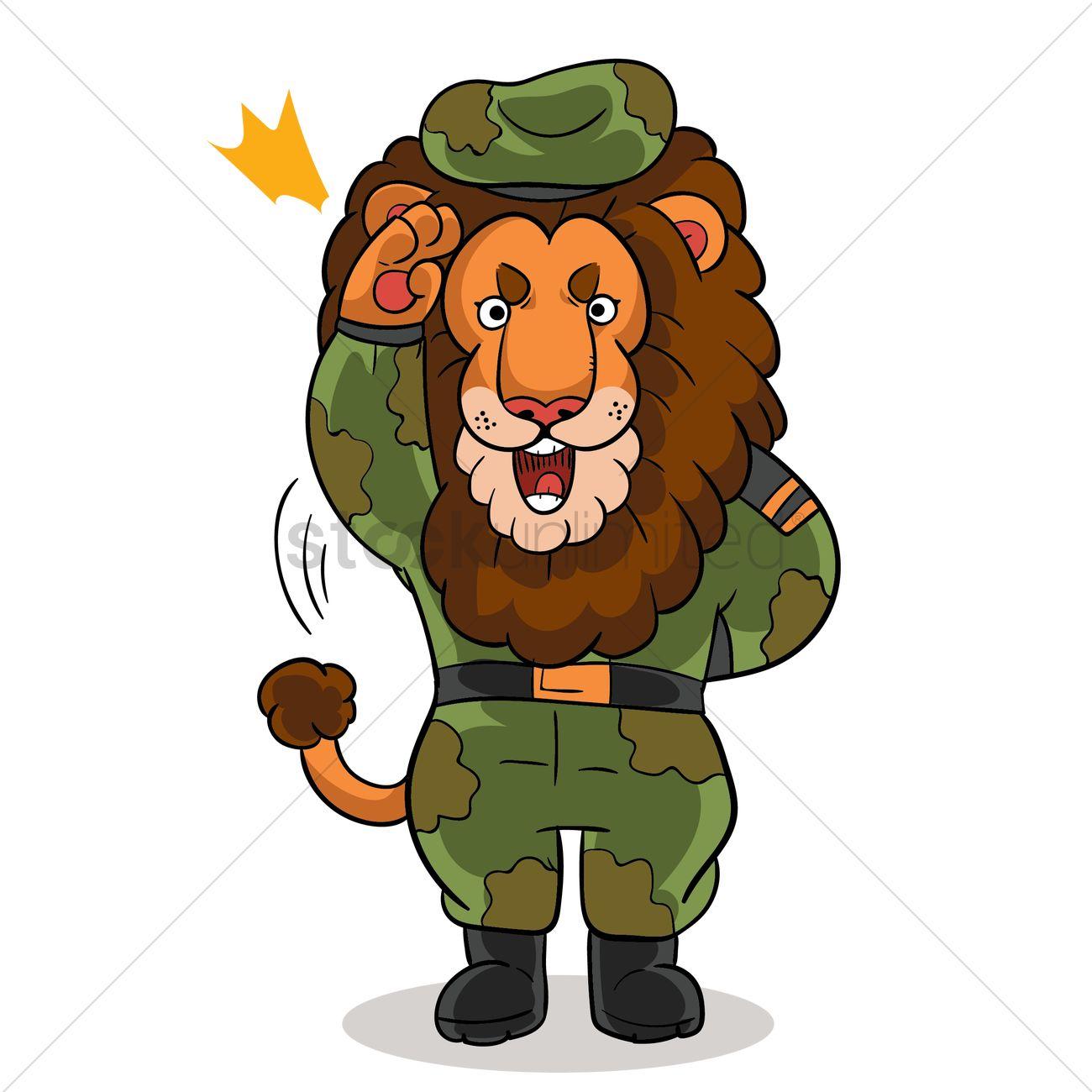 cartoon lion saluting in military uniform vector image 1957567