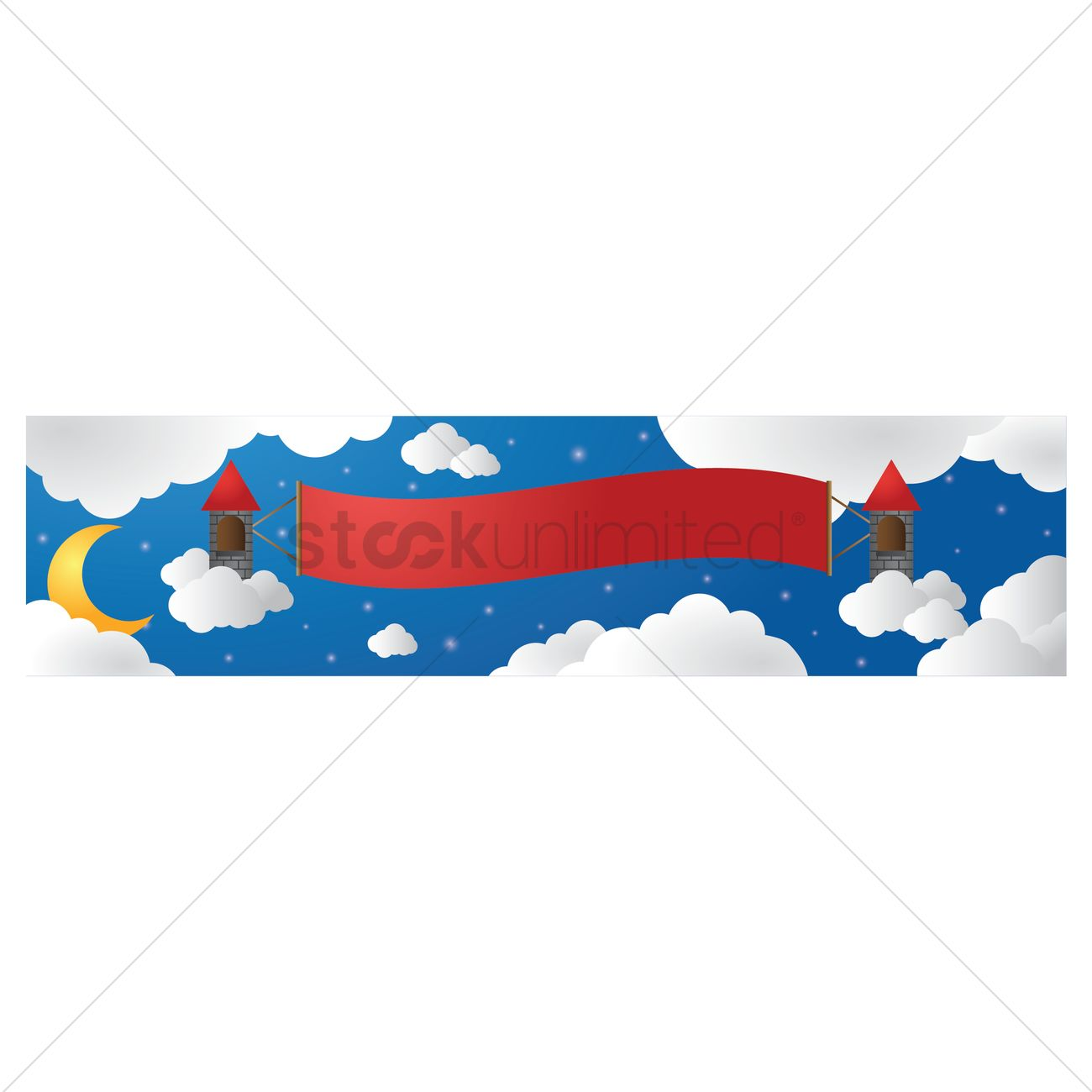 castle in clouds with banner vector image 1522123 stockunlimited rh stockunlimited com