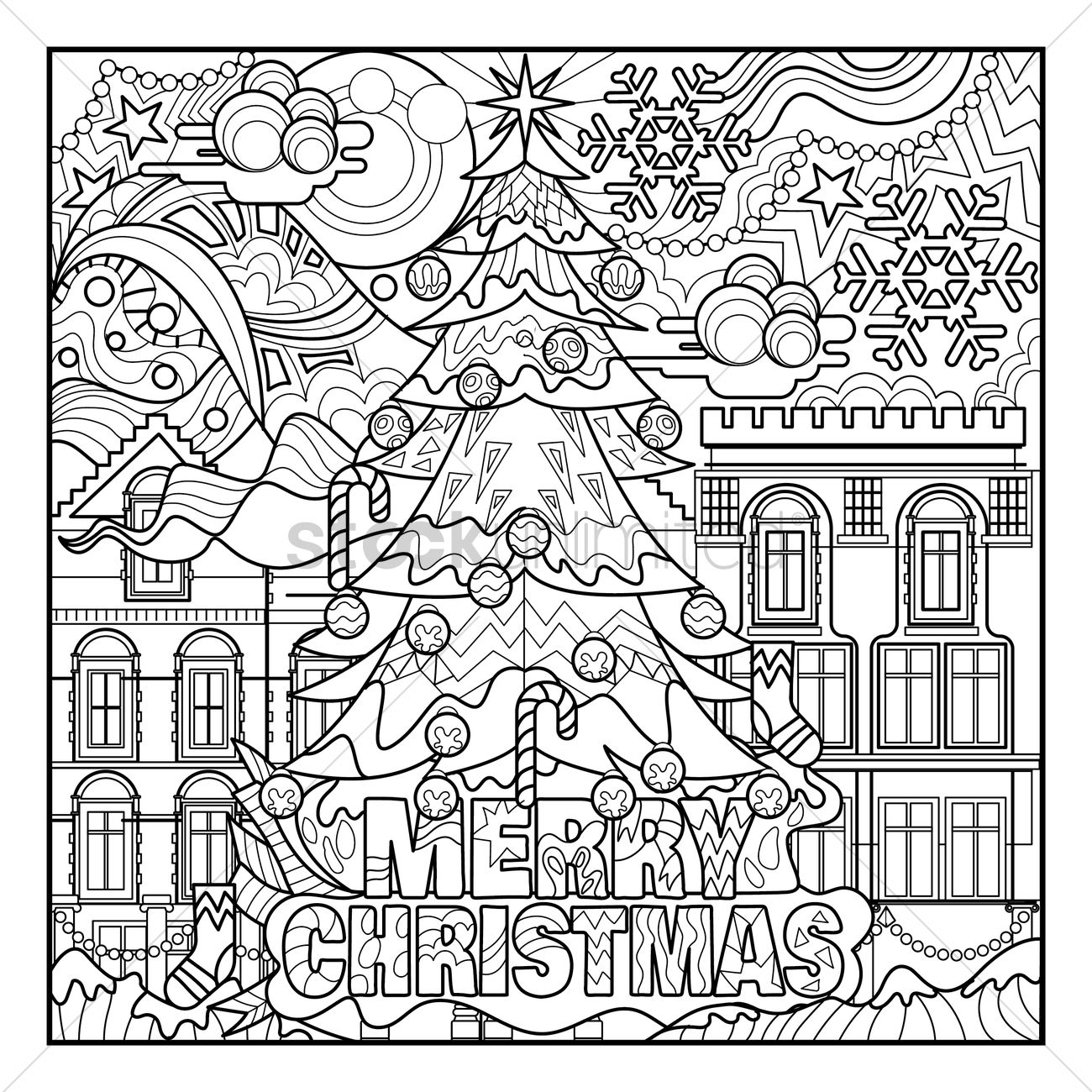 christmas coloring book prints vector graphic