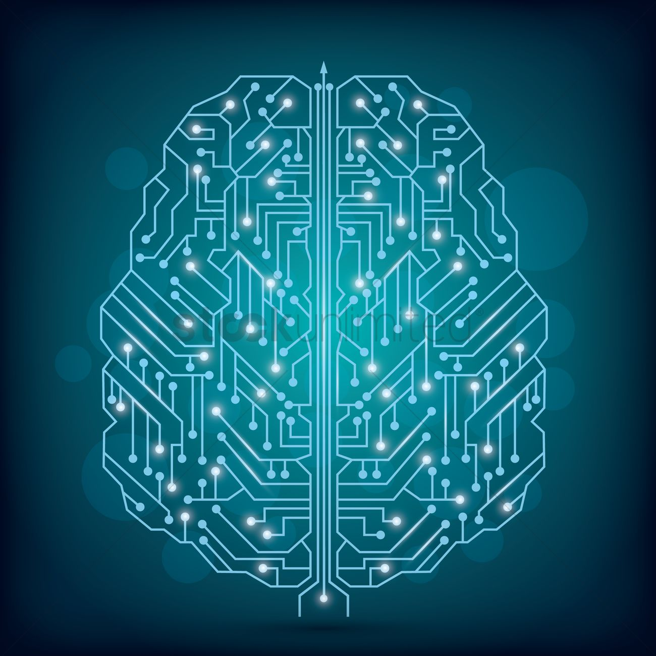 Circuit Brain Reusable : Circuit board brain design vector image