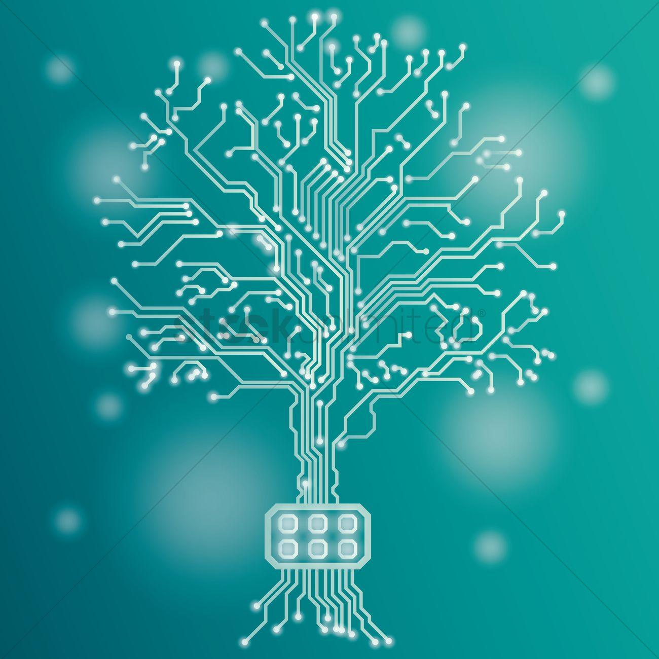 circuit board tree design vector image