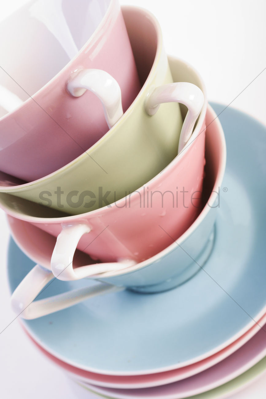 Close Up Of Coffee Cups In Stack Stock Photo