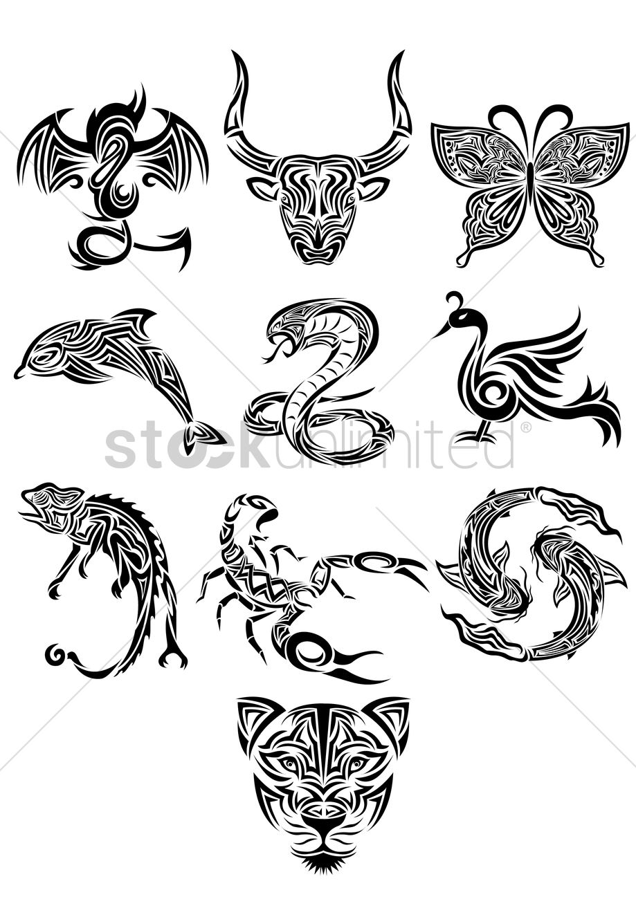 Free Collection Of Animals Tattoos Vector Image 1459407 - Tattos-animales