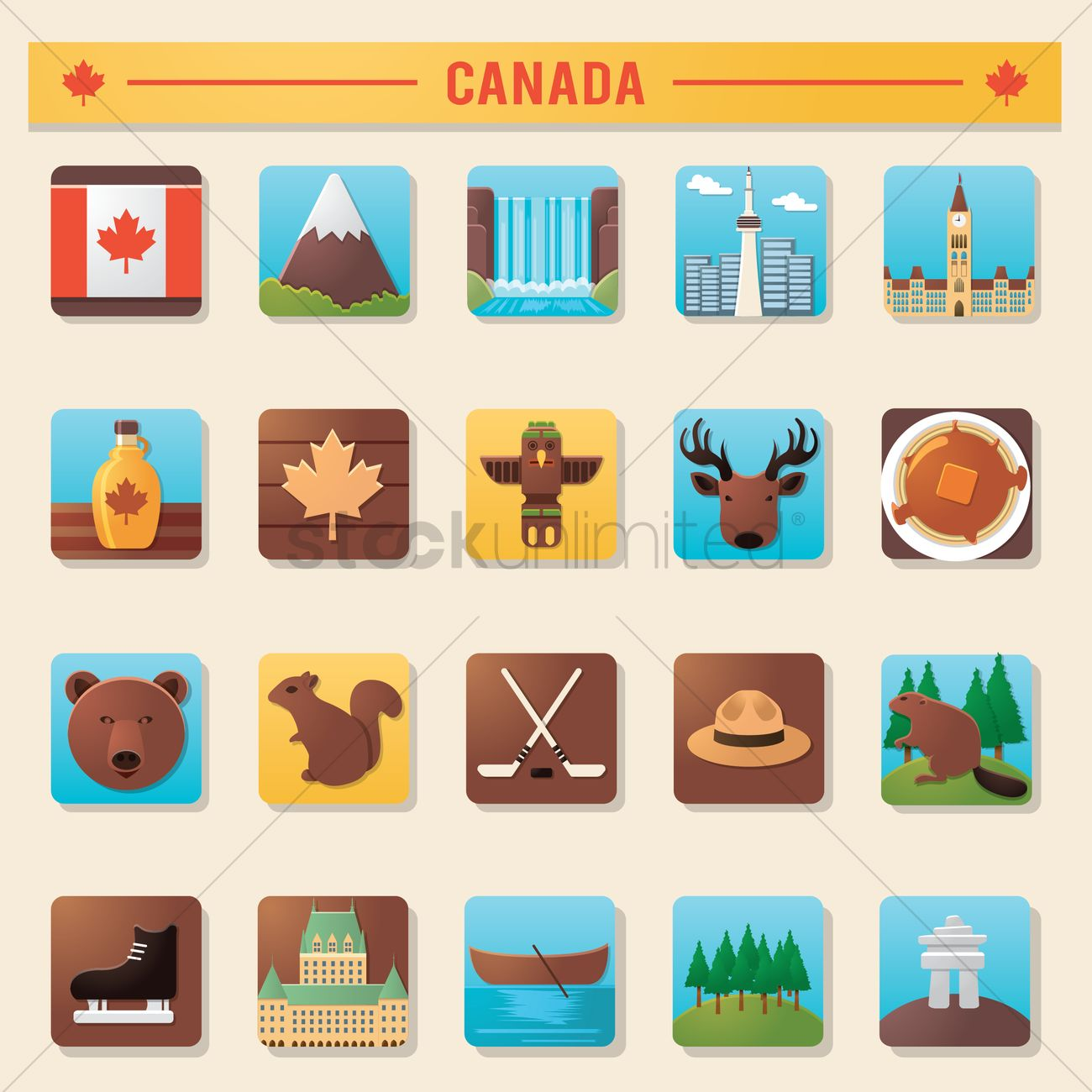 8442f6bda0a collection of canada icons vector graphic. Vector Illustration