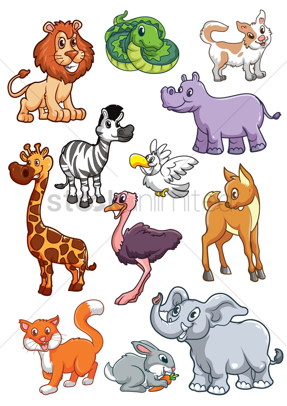Collection of cartoon animals Vector Image - 1803475 ...