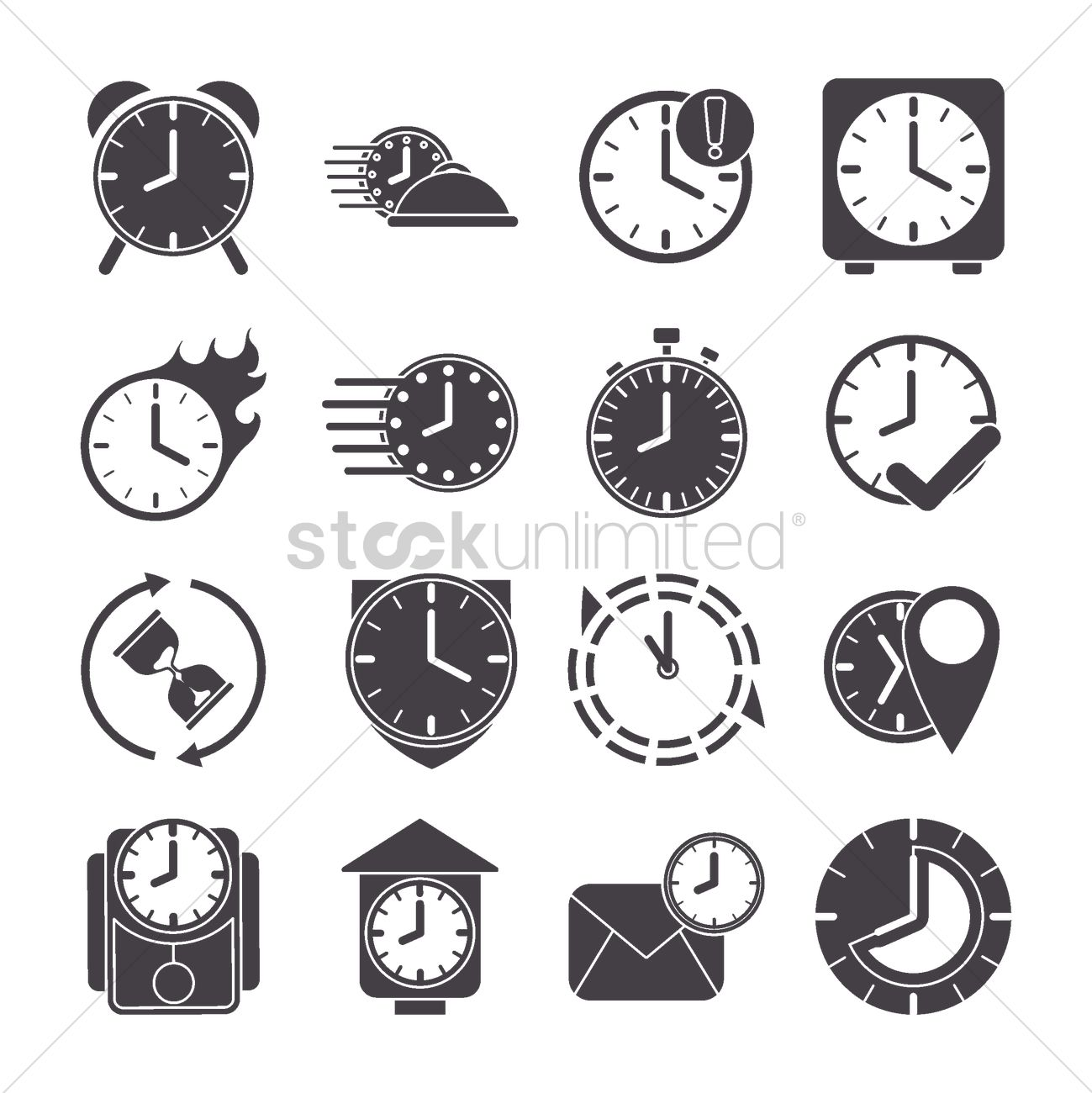 Collection of clock icons Vector Image - 2010219
