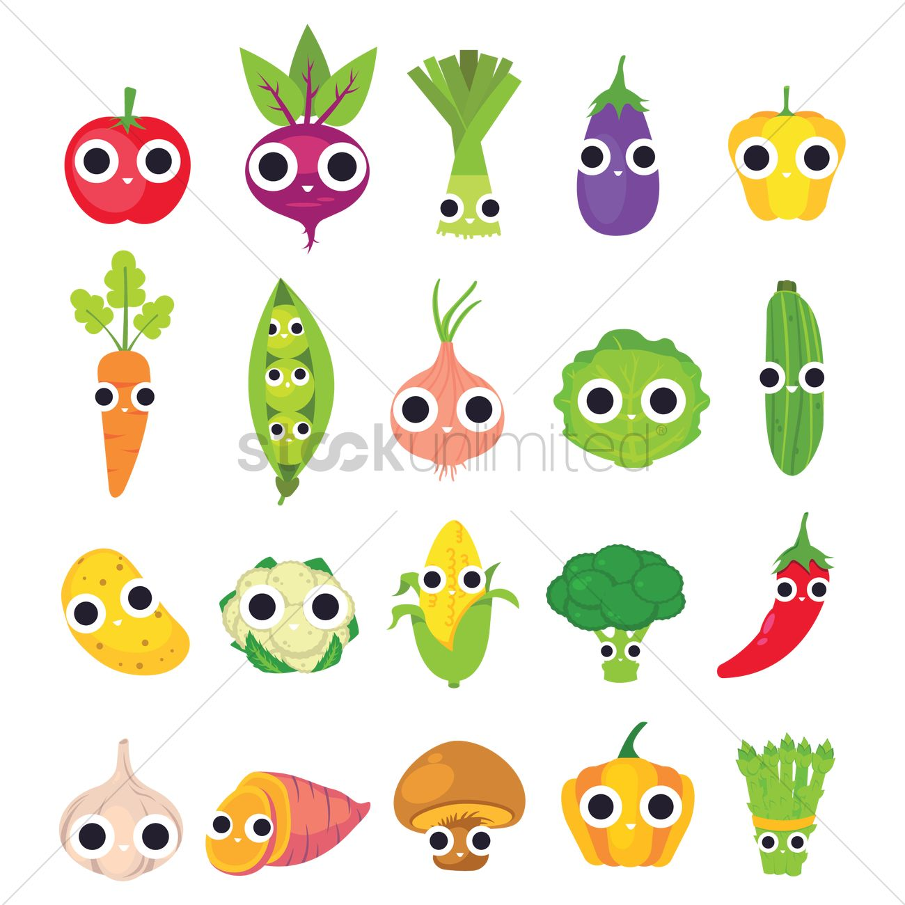 Collection of cute vegetables Vector Image - 2016495 ...