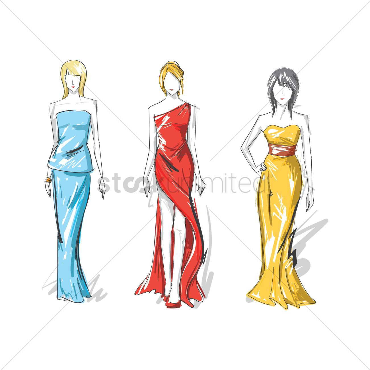 Collection Of Fashion Model Sketches Vector Image 2003119 Stockunlimited