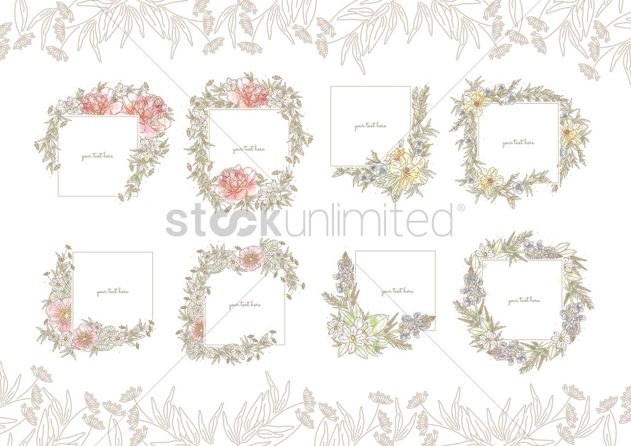 Collection of floral frames Vector Image - 1607235   StockUnlimited