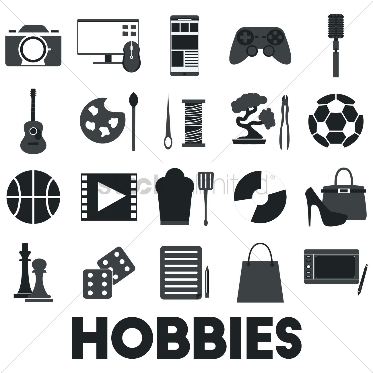 Collection Of Hobby Icons Vector Image 1753303 Stockunlimited