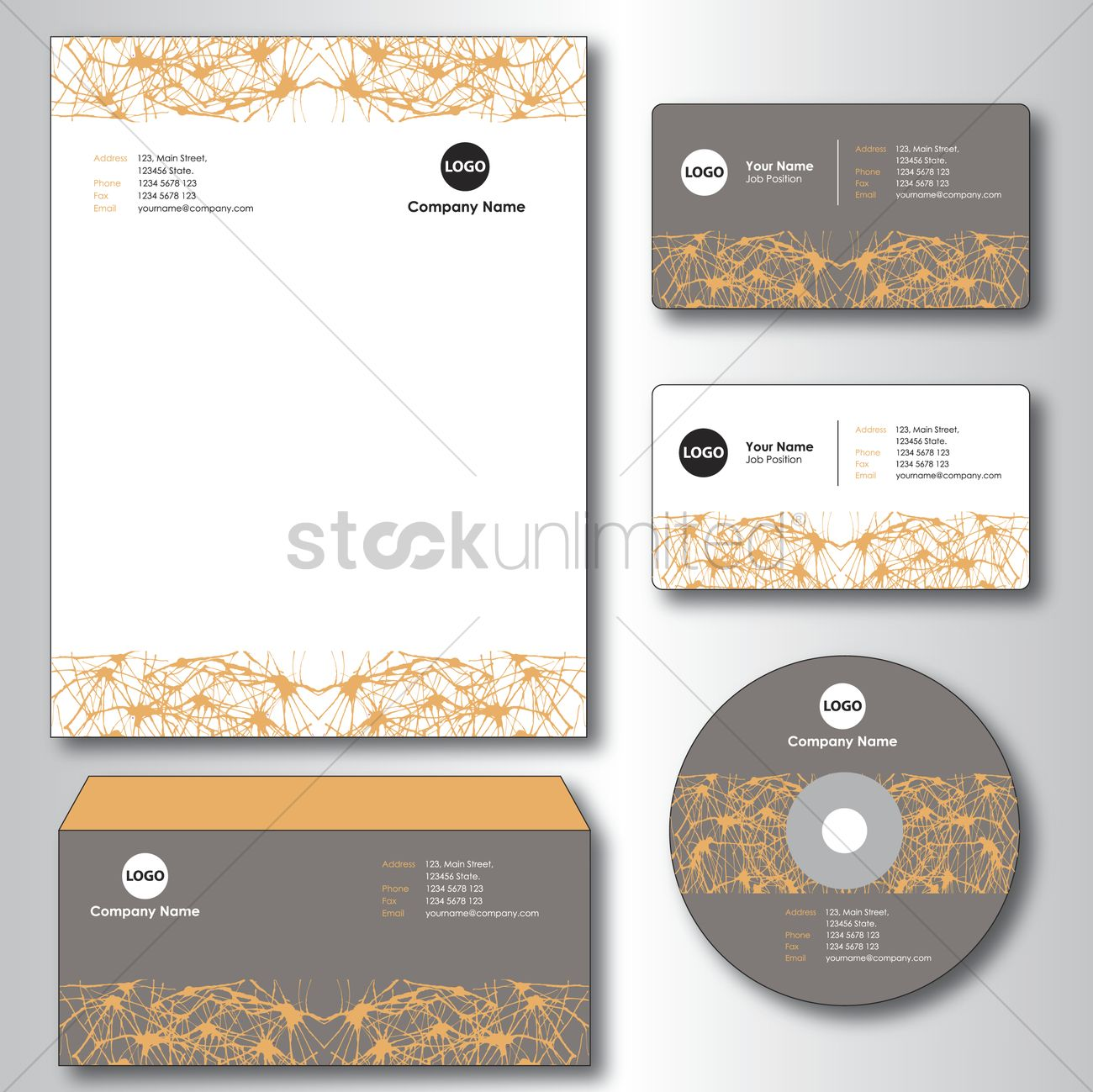 Company paper, envelope, business card and cd Vector Image - 1235431 ...