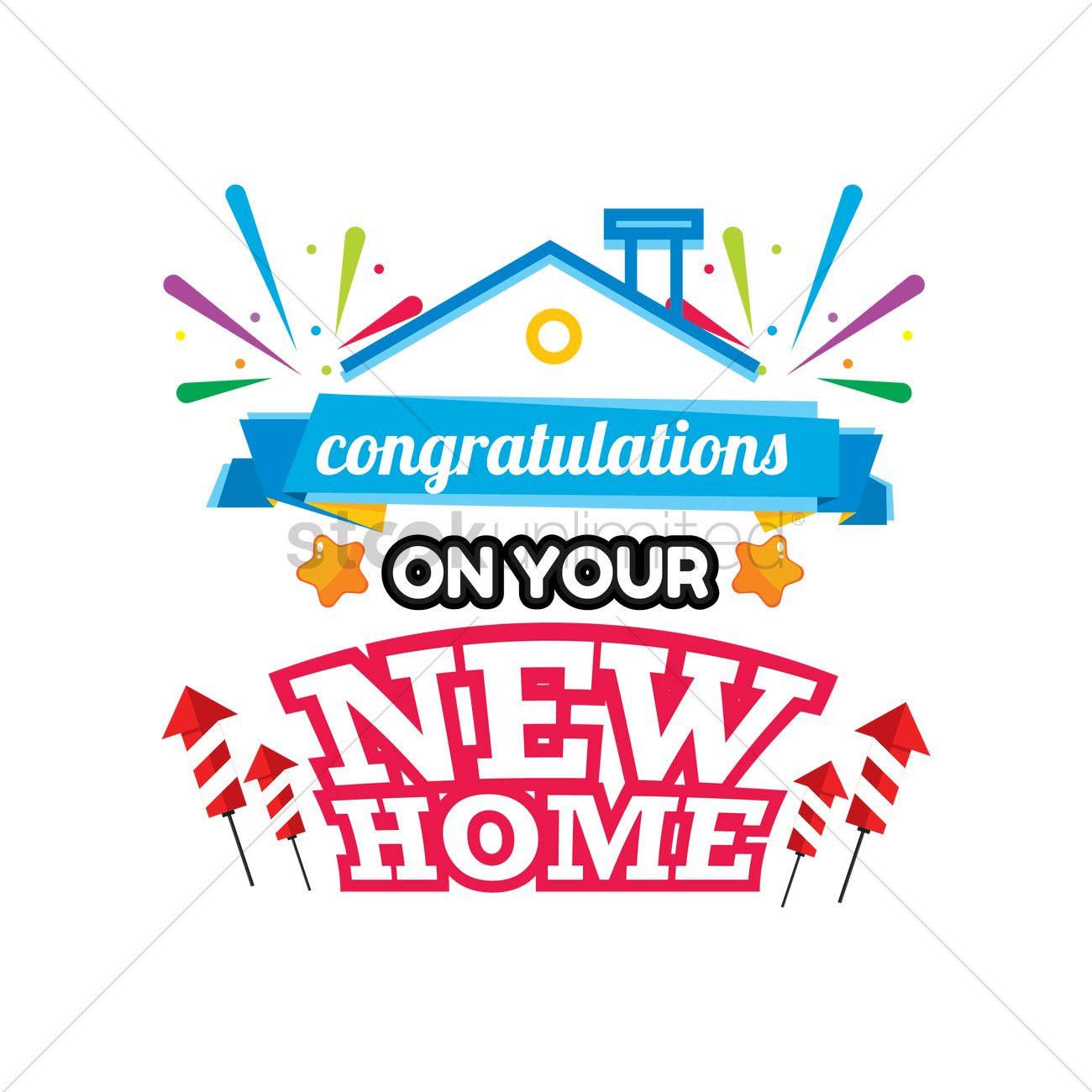 congratulations on your new home label vector image