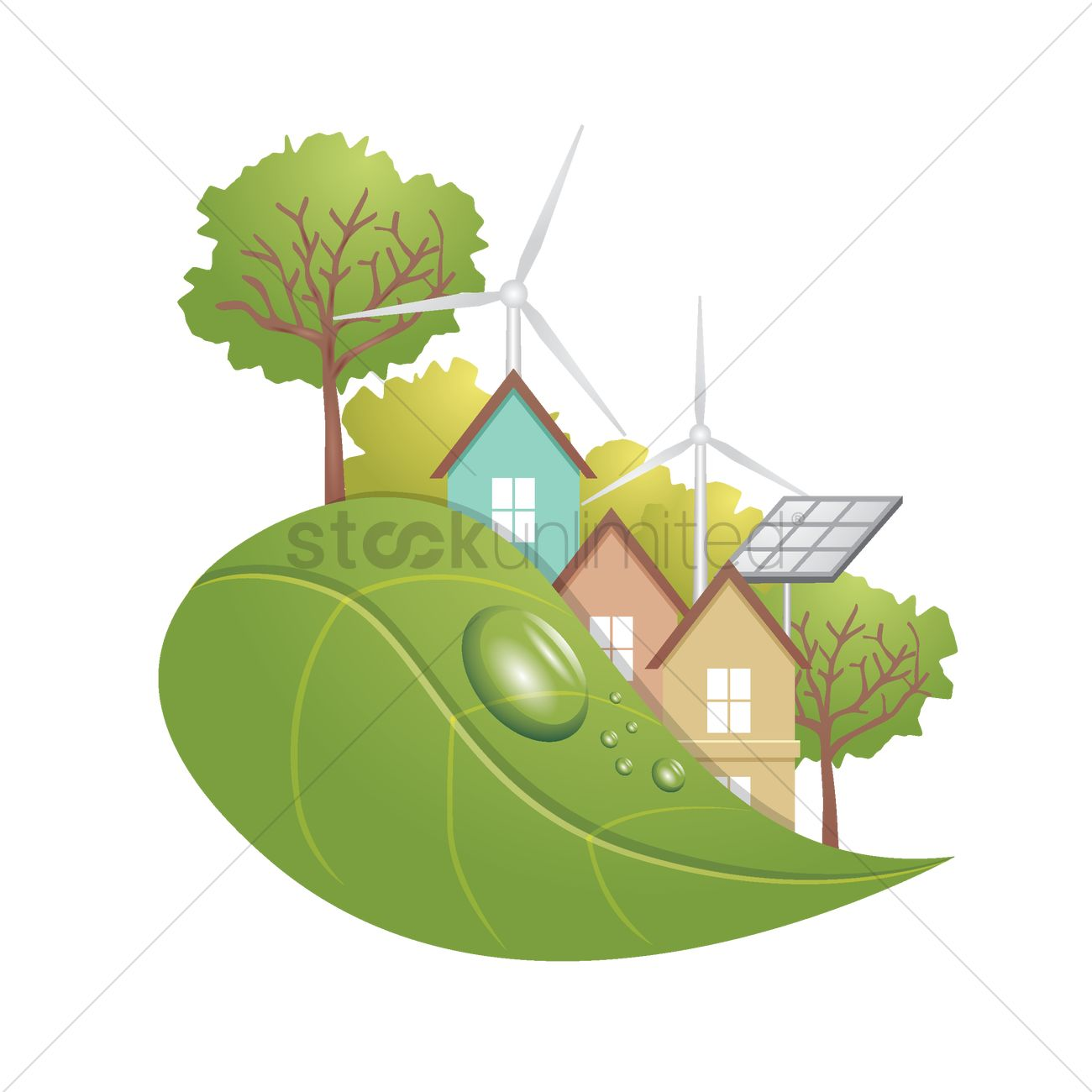 Ecological concept with renewable energy Vector Image