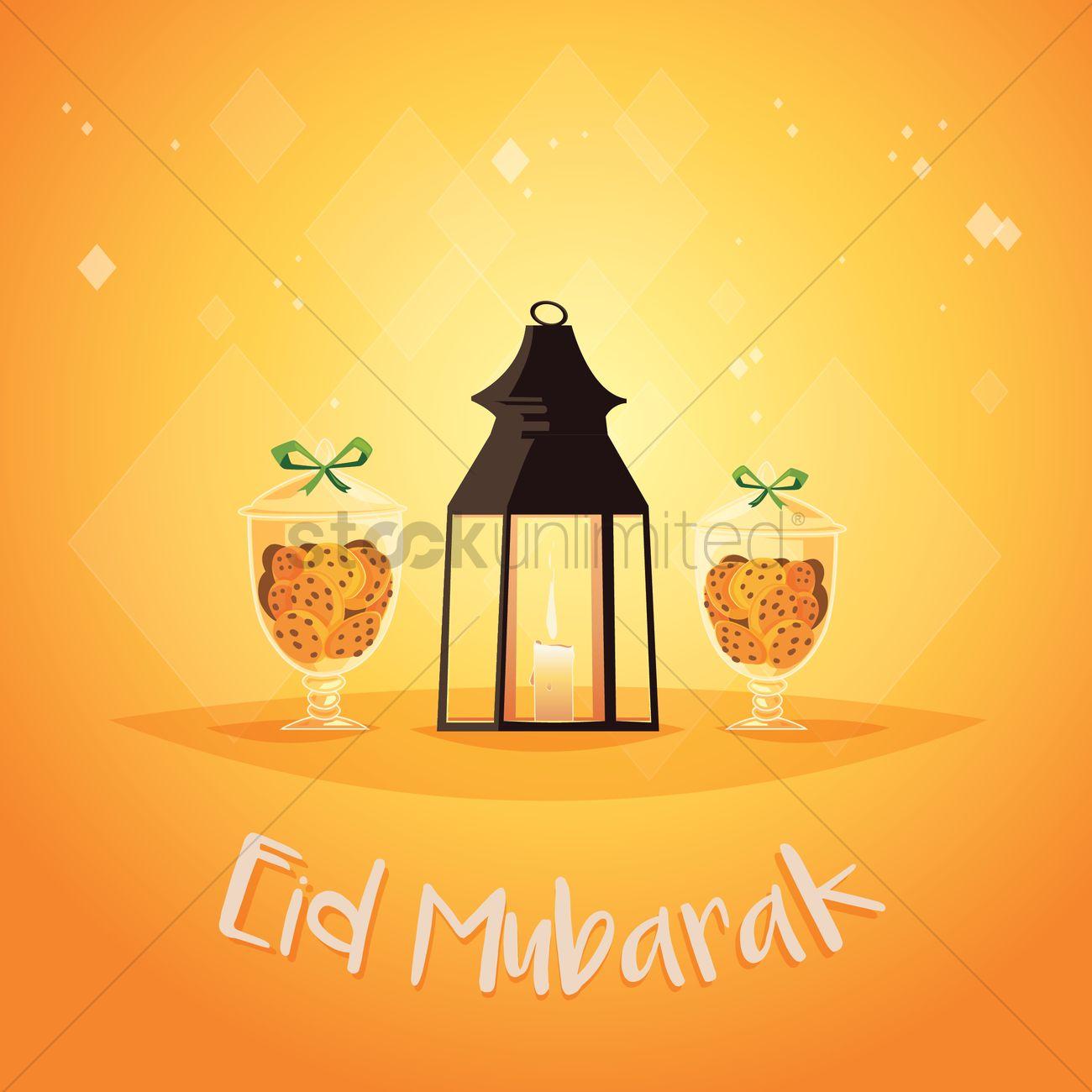 Eid Mubarak Greeting With A Ramadan Lantern Vector Image 1826803