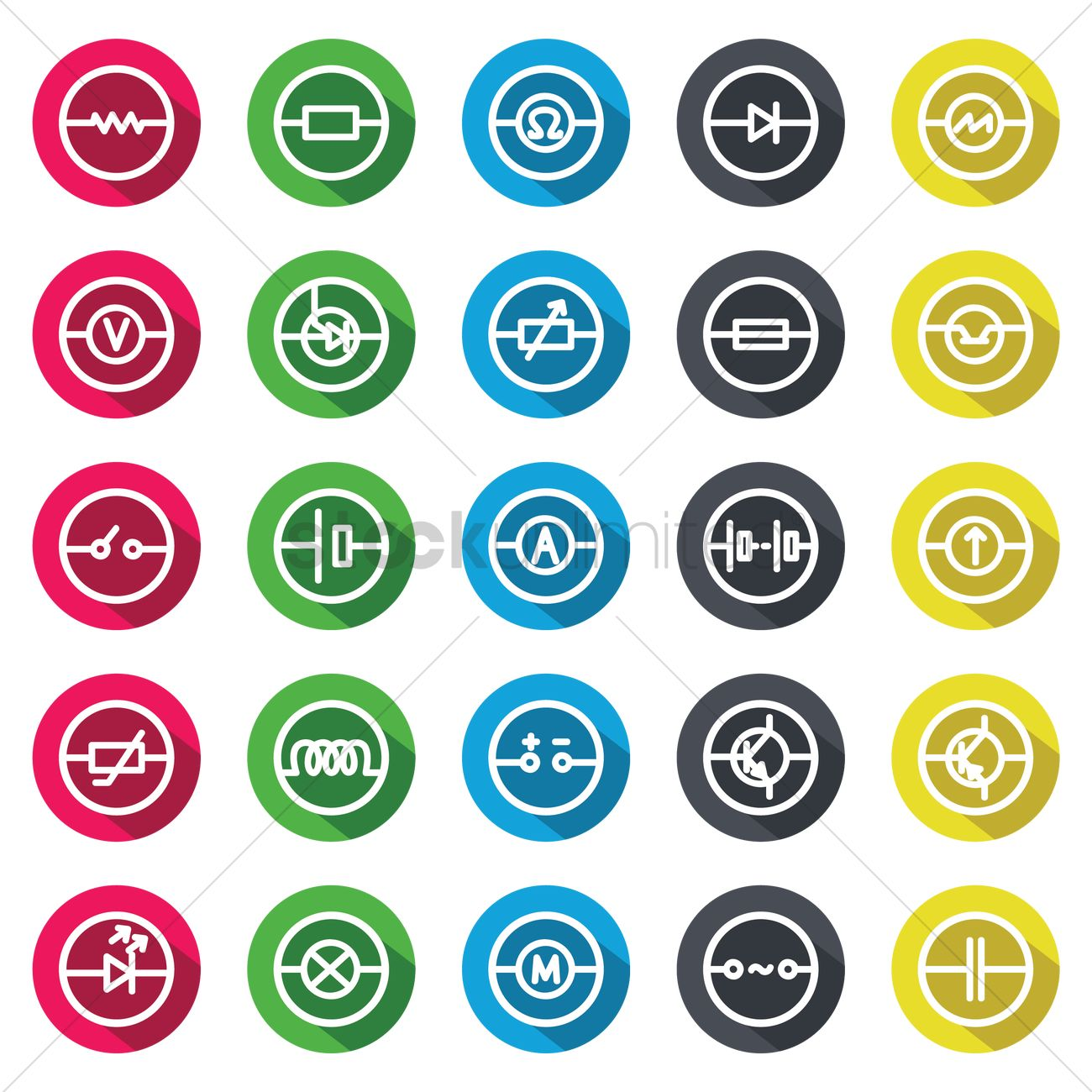 Electric Circuit Symbol Icon Set Vector Image 1248267 Stockunlimited Pictures Graphic